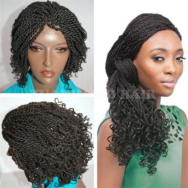 8A Grade 8inch Natural Black Synthetic Braided Hair Kinky Twist Tips Black Women Braid Wigs Free Shipping