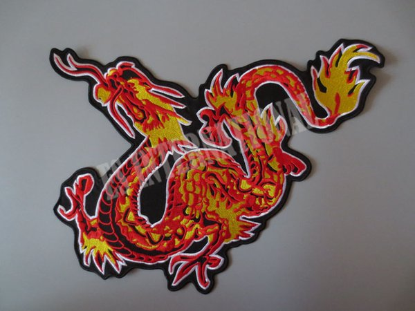 13.6 inches Chinese dragon large Embroidery Patches for Jacket Back Vest Motorcycle Club Biker outlaw MC 34.5*27.5cm
