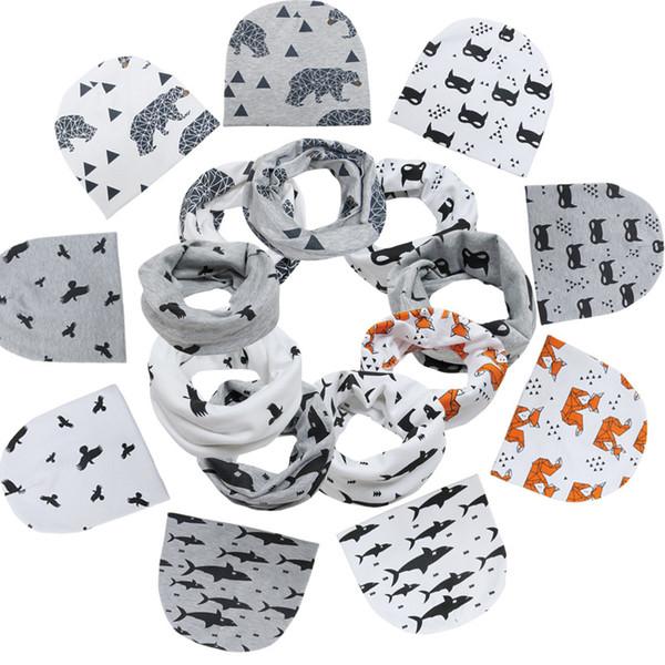 INS Newborn Hat Neckerchief 2PCS Set Cotton Infant Beanie Baby Girl Boy Animal Geometry Printed Scarves Hats Kids Baby Accessories b1398