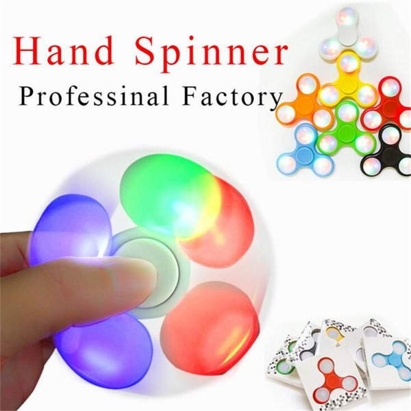 LED Light Up Hand Spinner Fidget Spinners With Switch Triangle Finger Spinner EDC Colorful Decompression Fingers Fidget Tops Gyro Toys