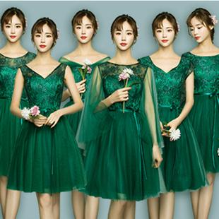 cheap sweetheart bandage bride green girls dress bridesmaid occasion short brides maid teen dresses ball gown for party D4023