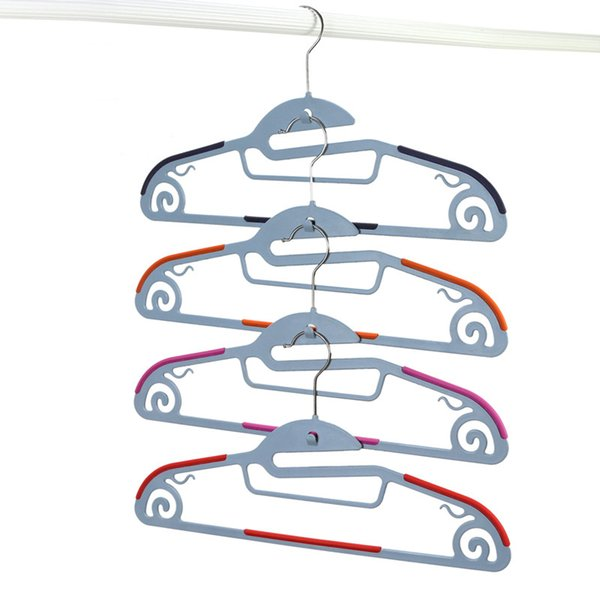 42cm Functional Dry Wet Clothes Hangers with Hook Non-slip Thin Space Save Storage Racks Plastic Hanger for Coat Suit Skirts Trousers 10pcs