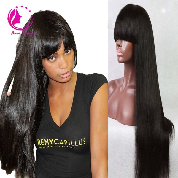 100% Virgin Brazilian Full Lace Human Hair Wigs With Bangs/Glueless Lace Front Wig 150 Density Cheap Straight Wig For Black Woman