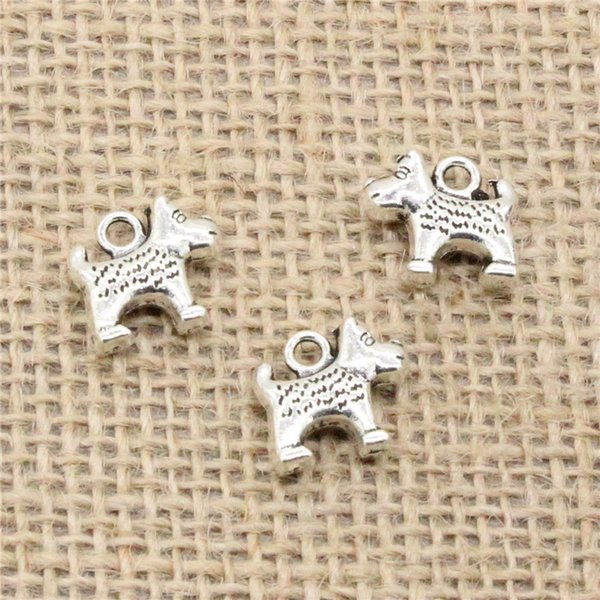 Wholesale 66pcs Charms Tibetan Silver Plated dog dalmatians 13*14mm Pendant for Jewelry DIY Hand Made Fitting