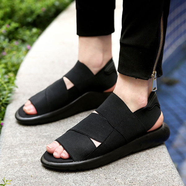 Toptan-2016 Yeni Varış Y3 Sandalet KAOHE SANDALS Açık Erkekler Terlik Açık parmaklı Deri sandalet Erkek Sandalet G-DRAGON Slaytlar En Kaliteli