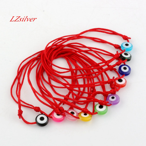 Hot ! 120pcs Kabbalah Red String Bracelet mix color Resin Evil Eye Bead Red Protection Health Luck Happiness Bracelets B-35