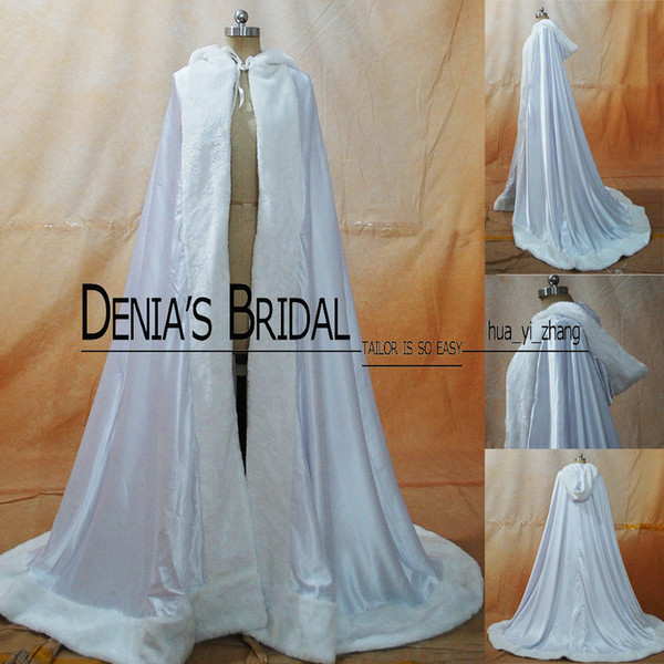 best selling 2016 Winter Wedding Cloak Cape Custom Made Hooded with Faux Fur Trim Long for Bride Satin Jacket 007
