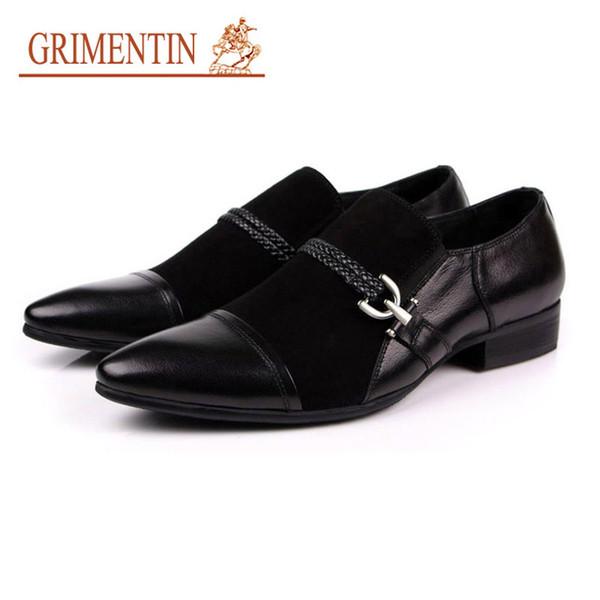 GRIMENTIN Hot sale mens dress shoes fashion designer high grade men loafers genuine suede leather black buckle formal business male shoes