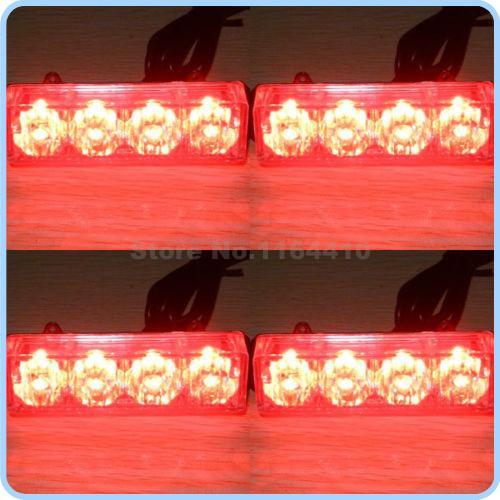 4x4 4LED 4*4 16 LED Emergency 8 Flashing Modes Car Vehicle Strobe Flash Warn Light Caution Warning Light DC 12V Red