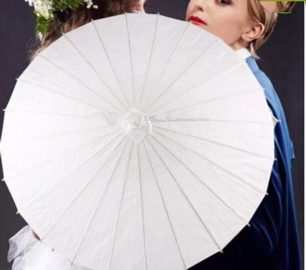 Papel branco Simples Parasóis Chinês Artesanato Guarda-chuva De Bambu Longo Lidar Com Guarda-chuva Nova Chegada Nupcial Do Casamento Parasol Partido Fotografia PropLLFA