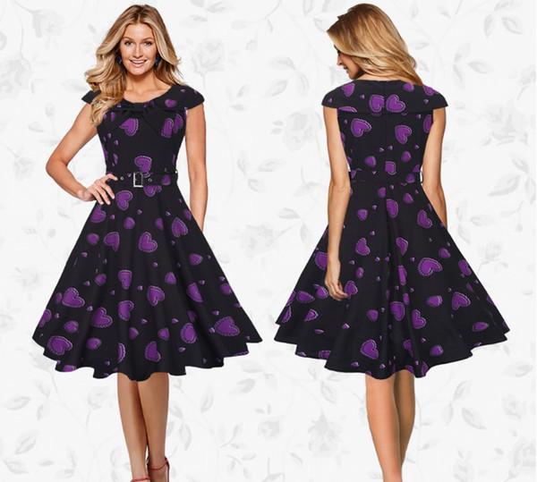 A Line Party Dress Slim Evening Vestidos 2017 Summer Dress Vintage Casual Printing Sailor Collar Short Sleeve