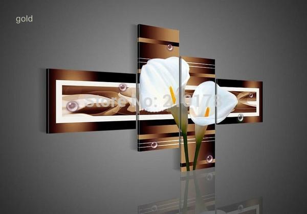 hand-painted wall art black Pure white lilies home decoration Landscape oil painting on canvas 4pcs/set