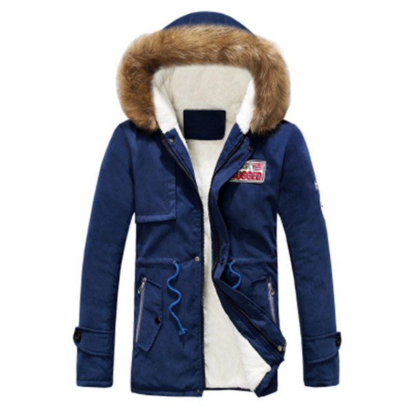 Wholesale- 2016 men's clothes autumn and winter hot models men Korean version of Slim Long warm hooded coat Lovers of winter cotton coat