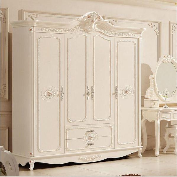 hot selling new arrival four door wardrobe modern European whole wardrobe French bedroom furniture wardrobe pfy10013