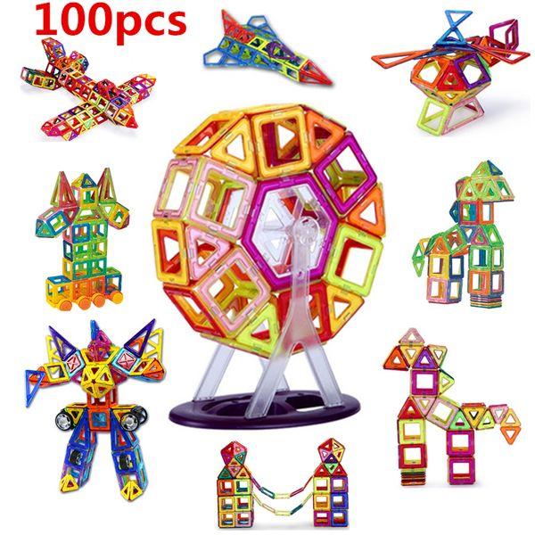 100PCS Mini size Magnetic building blocks construction toys for kid Designer magnetic toys Magnet model building toys enlighten