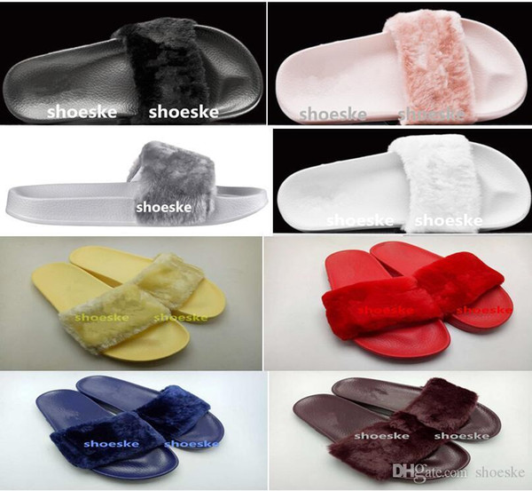 Nice Pop Fenty Fluffy Slippers Leadcat Women Casual Shoes Sandals Rihanna Eight Color Pink Black And White Gray Red Slippers