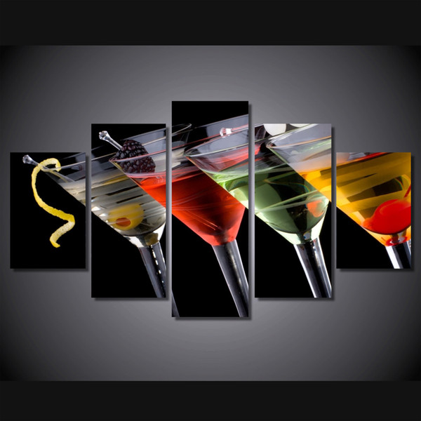 5 Pcs/Set Framed HD Printed drinks Group Painting Canvas Print room decor print poster picture canvas Free shipping/ny-308