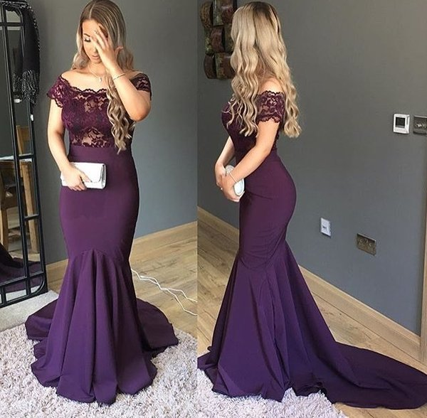2018 sexy plus size purple mermaid prom dresses mother of the bride evening gowns lace dress