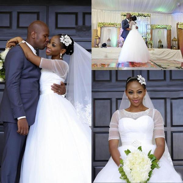 Glamorous Sexy Wedding Dresses Nuevo 2017 Blanco Moderno A Line Lace Crystal Sash Cómodo Tulle Jewel T-shirt de manga corta sin respaldo cremallera Misses