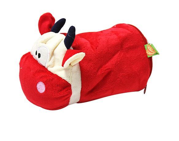 Wholesale- Cute Plush Red Cow Tissue Box Cover Decorative Toilet Paper Roll Napkin Tissue Box Holder for Kids Bedroom Home Deco [ 1 pc ]