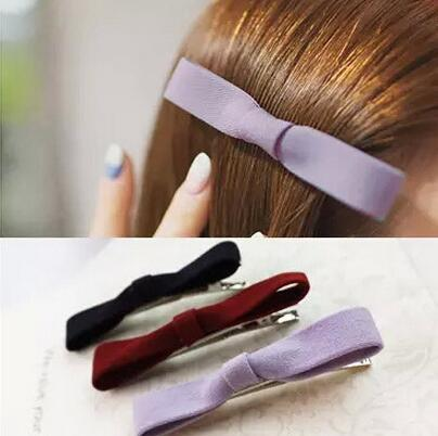 Best gift Classic new hair ornaments solid color cloth bowknot clip jewelry word paste duckbill folder FJ010 mix order 60 pieces a lot