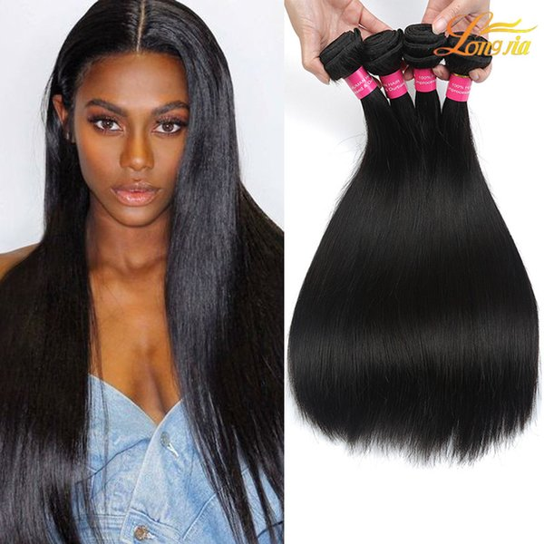 Factory 7ABrazilian Peruvian Malaysian Indian Human Straight Hair Virgin Brazilian Human Hair Natural Color Machine Double Weft FreeShipping
