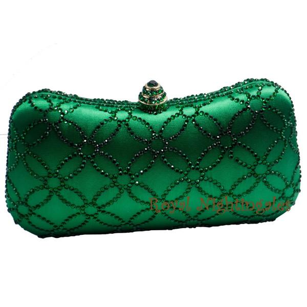 Al por mayor-Flor Emerald Dark Green Rhinestone Crystal Clutch Bolsos de noche para la fiesta de la boda de la novia de cristal bolso y caja de embrague