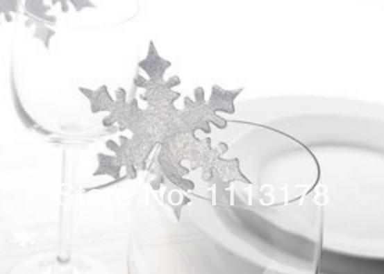 Wholesale- Free shipping Cheap Snowflake Wine Glass markers Wedding Cake Toppers birthday baby shower Party Decorations