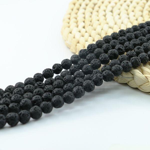 Natural Black Lava Rock Beads Semi Precious Stone Beads for Yoga Jewelry Making 4/6/8/10mm 15 inch Strand Per Set L0582#