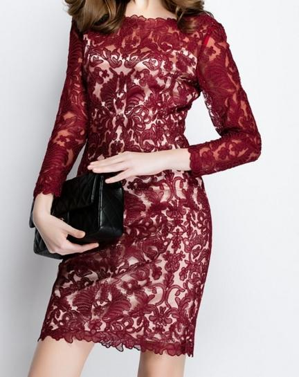 New Europe and America heavy industry embroidery long sleeve lace dress, summer dress,beautiful girl,young1626353142