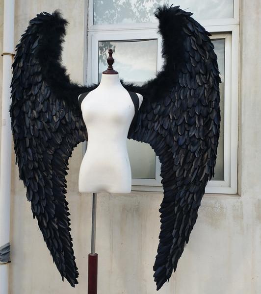 большие черные крылья из перьев Devil взрослого для модели сценического шоу подиума Отображает съемки реквизит моды аксессуары Pure ручной работы