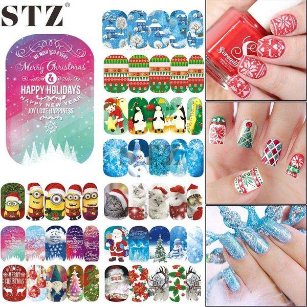 1 Blatt Nail Art Decals Aufkleber Weihnachten Wassertransfer Full Cover Nail Sticker Schnee Blume Cartoon Muster Maniküre STZ405-424