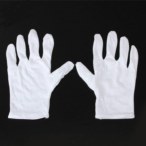 top popular 24pcs=12Pair Useful White Cotton Gloves For Housework Workers With Knits For Safely Security Working Labor Free Shipping 2019
