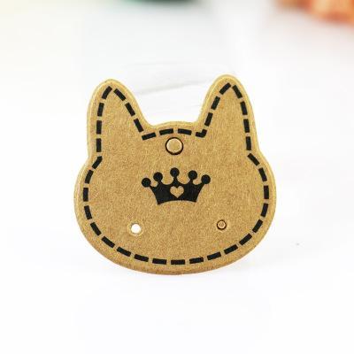 3.7*3.7cm Kraft Paper Jewelry Ear Studs Packaging Display Tag Earring Card&Tags Retail Earring Hang Tag Label Ear Stud Hooks Cardboard