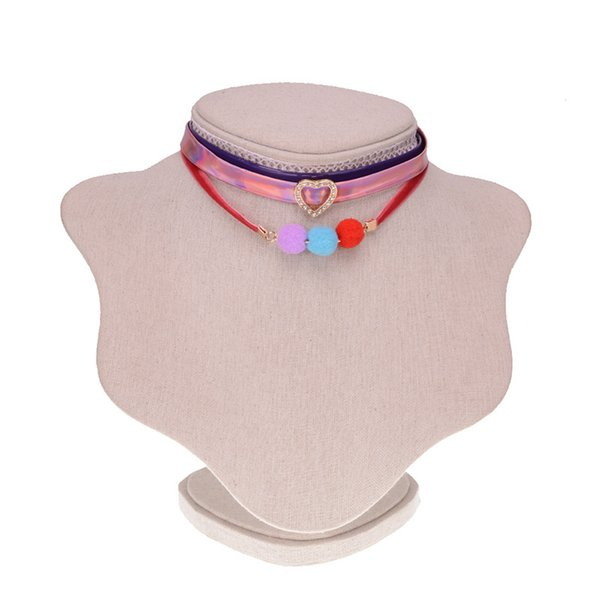 Fashion Jewelry Leather Chokers Necklace Women Cheap Color Boho Open Heart Collar Statement Necklace Set