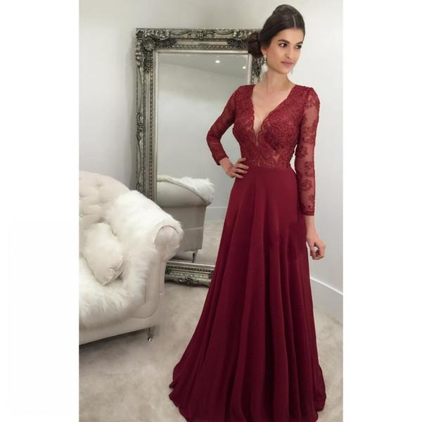 2018 sexy cheap burgundy prom dress formal dresses lace dress long sleeve prom dresses