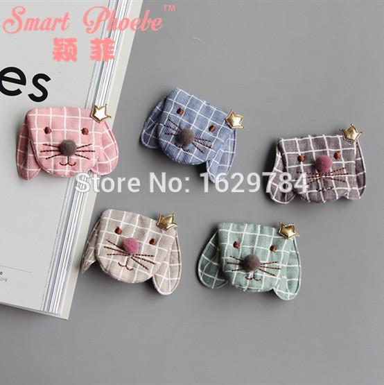 Wholesale 12pcs/6C Korean Fashion Cute Plaid Dog Girls Hairpins Solid Kawaii PU Crown Fabric Animal Hair Clips Hair Accessories Headware