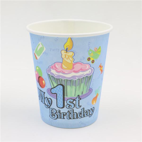 Atacado-feliz 1 º aniversário dos desenhos animados vela copos 10pcs \ lote festa de decoração de vidro de papel bebê chuveiro crianças favores eventos suprimentos de mesa