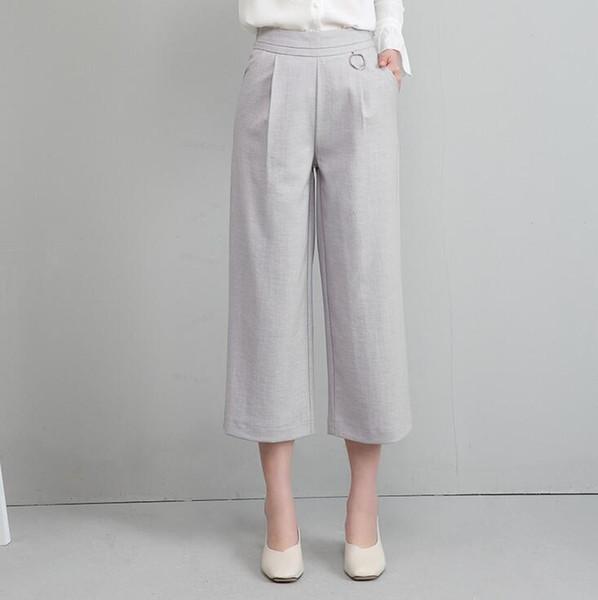 Good A ++ Wide Leg weibliche neun Minuten Sommer hohe Taille lose große beiläufige Hosen PW021 Frauen Hose Capris