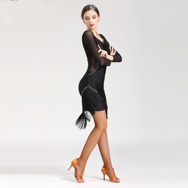 2019 style Tassel Latin Salsa Dresses Set Women Dance Skirt Lady Ballroom Latin Dancing Dresses Competition Cha Cha/Rumba/Tango Skirt