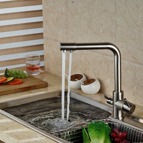 Wholesale- Brand NEW Kitchen Sink Faucet Pure Water Filter Drink Mixer Tap Dual Handles Two Spout Brushed Nickel Finish