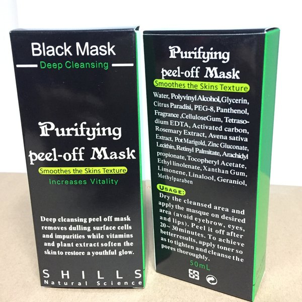 Shills Purifying Peel Off Black Mask Blackhead Remover Deep Cleansing Mud Facial Mask Acne Black Heads Removal Nose Pore Cleaner Mask