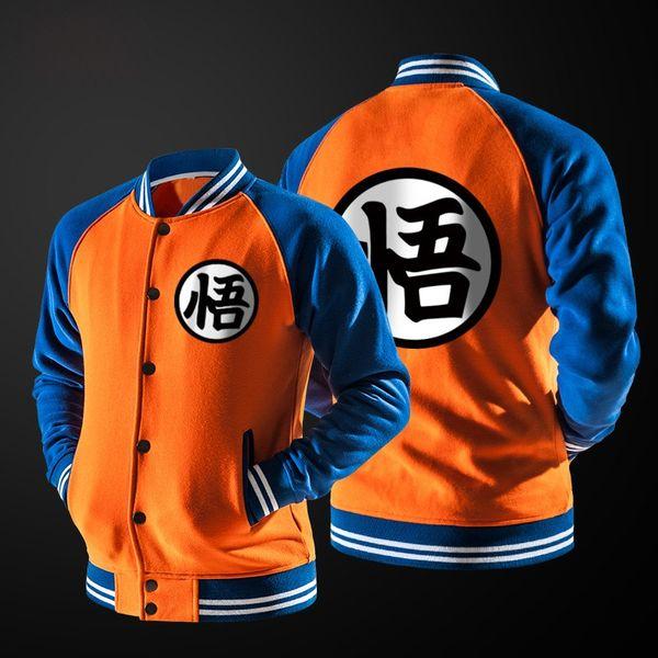 Nuevo Anime japonés cosplay Dragon Ball Goku Varsity Jacket Otoño Moda Negro Blanco Manga Fleece Baseball Jacket envío gratis