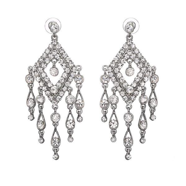 Kadın Gümüş Kaplama Takı Büyüleyici Kristal Avize Uzun Küpe Püskül Toptan Ücretsiz Kargo Moda Romantik Trendy