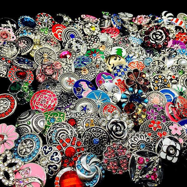 En gros en vrac lot mélanger les styles de la mode de gingembre 18mm métal strass s'enclenche bouton Snap bijoux neuf