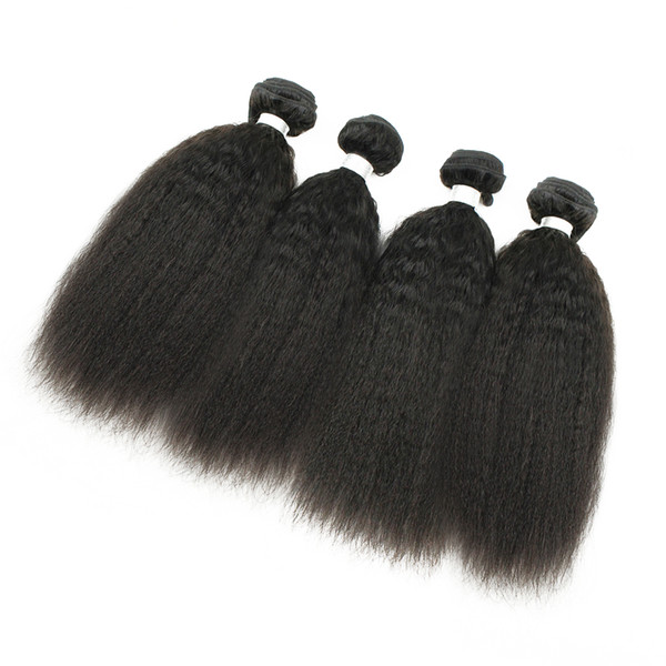 Afro Style Kinky Straight Raw Indian Virgin Hair 4 Bundles Yaki