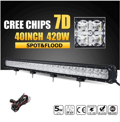 factory price 7d 40inch 420w cree chips led offroad light bar combo beam led work light driving lamp for 12v 24v truck suv 4x4 4wd pickup