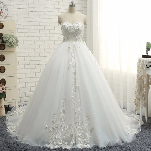 New Fashion Lace Wedding Dresses 2018 Ball Gowns Sweetheart neckline ...