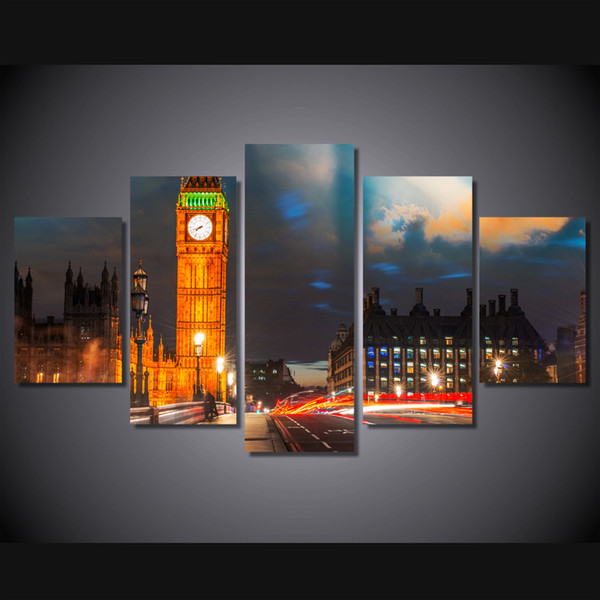 5 Pcs/Set Framed HD Printed London City Night Building Poster Picture Wall Art Canvas Print Room Decor Poster Canvas Painting