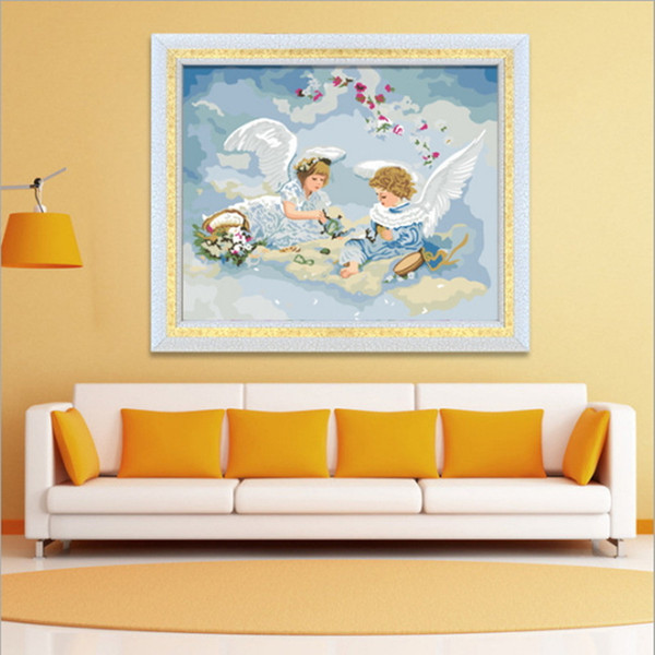 Abstract Painting Angel Wings Home Art Picture with Paint Linen Printing Color Painting Digital Oil Modern Wall Printed 2017